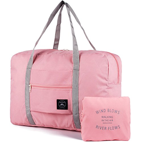 For Spirit Airlines Foldable Travel Duffel Bag Tote Carry on Luggage Sport Duffle Weekender Overnight for Women and Girls (1112-Pink)