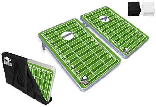 - PartyPongTables.com 3 ft. x 2 ft. Party Toss Cornhole Boards Bean Bag Toss Game Set - Football Field