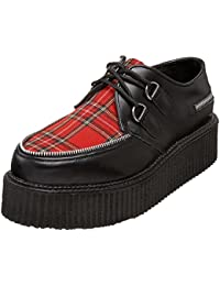 Mens Creeper Shoes 2 Inch Platform Retro Black Shoes Red Plaid Zippers Lace Up