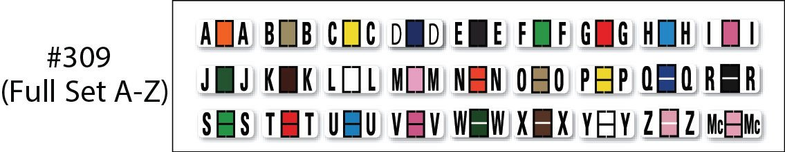 File Right Color-Code Alphabet Labels - Ringbook - Full Set (A-Z)