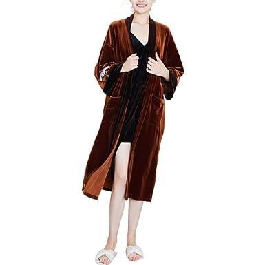 fe4baa77a4 Women s Luxury Velvet Nightgown Dressing Gown Soft Long Bathrobe Cardigan  Housecoat Autumn Winter Comfort Nightwear