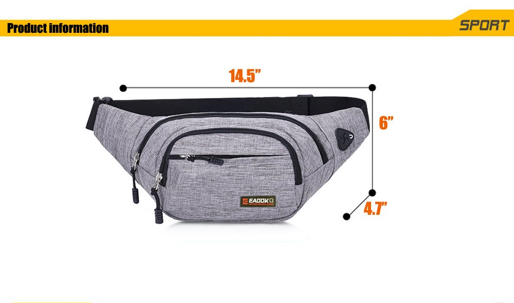 EAOOK Waterproof Travel Belt,Big Fanny Pack for Outdoor Sport/Money Belt(Grey) by EAOOK (Image #8)