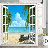 Palm Tree Decor Ocean Beach Seascape Through White Wooden Windows Going Away Gifts Sunbeds Balcony Wooden Windows Summer Scene Tropical Island Bathroom Shower Curtain with Hooks,70X70 Inch, Blue Green