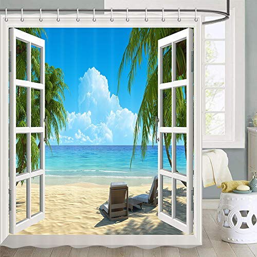 beach scene shower curtain - 6