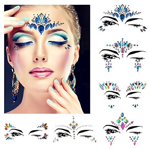 Festival face jewels Tattoo, Udyr 6 Sets Rhinestone Crystal Gem Stones Temporary Sticker Tribal Style 3D body Face And Eye Jewels Forehead Stage Decor -