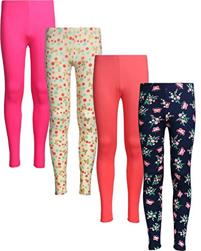 - dELiA*s 4 Pack Girl's Basic Yummy Active Leggings (Solids & Prints) (4, Polka Dots/Flowers)'