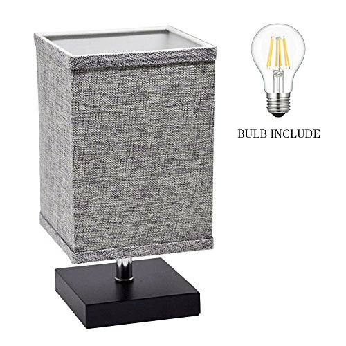 LED Fabric Bedside Table Lamp, Minimalist Solid Wood Table Lamp, Bedside Desk Lamp Square Nightstand Lamp with Flaxen Fabric Shade for Bedroom, Living Room, Kids Room, College Dorm, Coffee Table(Grey)