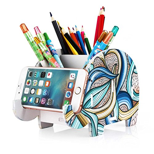 COOLBROS Elephant Pencil Holder With Phone Holder Desk Organizer