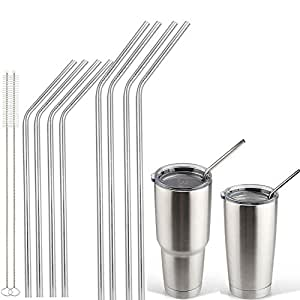 Accmor 18/8 Stainless Steel Straws,FDA-approved Reusable Bend Drinking Straws Set of 8 - 4 long bend + 4 short bend + 2 Brushes for 20oz & 30oz YETI Cups and To-Go Cups (LE:8.5/10.5in, OD: 0.24in)
