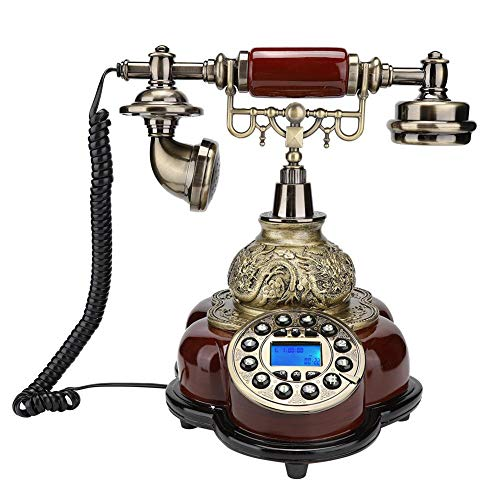 Mugast Retro Corded Telephone,Vintage Antique Desktop FSK/DTMF Caller ID Landline Phone with Electronic Calendar, Date, Clock, Week Display for Home/Office/Hotel Decoration from Mugast