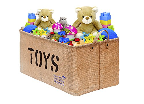 [Extra Large, 22 inch] Jute Storage Container Bin Basket Organizer EASY Organizing Toy Storage Baby Kids Pet Toys Closet Basket for Magazines Books Gift Baskets