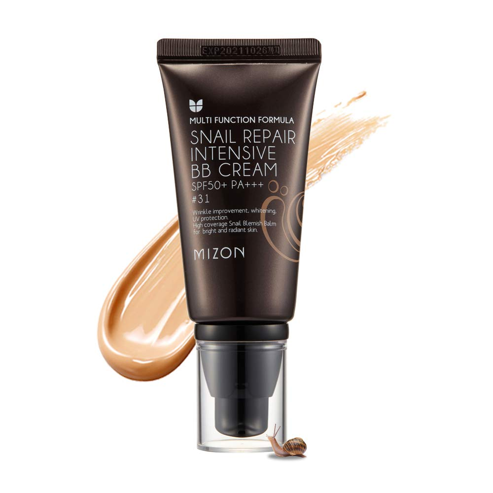 Mizon Snail Repair Blemish Balm, Multifunctional BB Cream with Snail Mucus Filtrate, Skin Care and Makeup Coverage, Strenghtens Skin Elasticity, Improves Fine Wrinkles (#31)