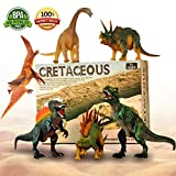 Adjustable Dinosaur Toys, 6 Pack 11'' Large Plastic Dinosaur Figures, Non-toxic Tasteless Dinosaur With Movable Parts Function, Highly Detailed Realistic Dinosaur Set for Kids Educational Dinosaur Toys