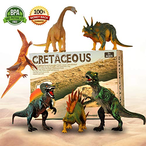 """Adjustable Dinosaur Toys, 6 Pack 11"""" Large Plastic Dinosaur Figures, Non-toxic Tasteless Dinosaur With Movable Parts Function, Highly Detailed Realistic Dinosaur Set for Kids Educational Dinosaur Toys -"""
