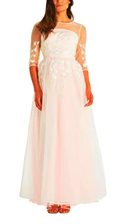 Chi Chi London Adlynn Maxi Evening Dress, White/Pale Pink Lining, Bridesmaid Formal