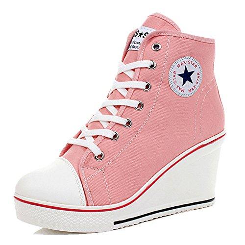 ROSEUNION Damen Sneakers Canvas Sneaker Wedges Keilabsatz Schuhe Sportschuhe Freizeit Mädchen Canvas Sneaker 35-43 Rosa