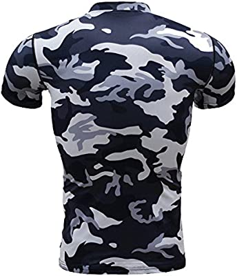 Mens Dri-fit Short Sleeve Compression Camouflage Shirts Blue S
