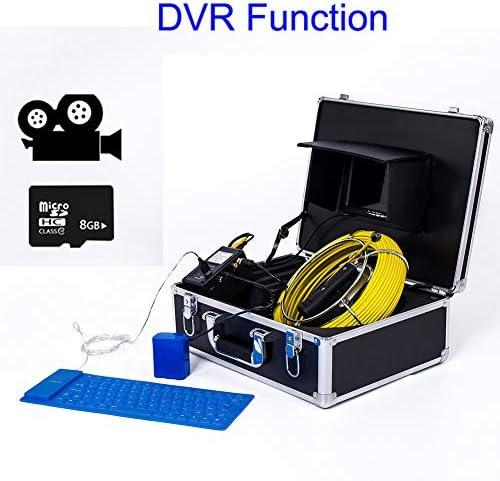 7インチ6.5 ミリメートル産業用パイプライン下水道検出カメラ IP68 防水排水検出 1000 TVL カメラ DVR 機能 (20M、30M、40M、50M),40M