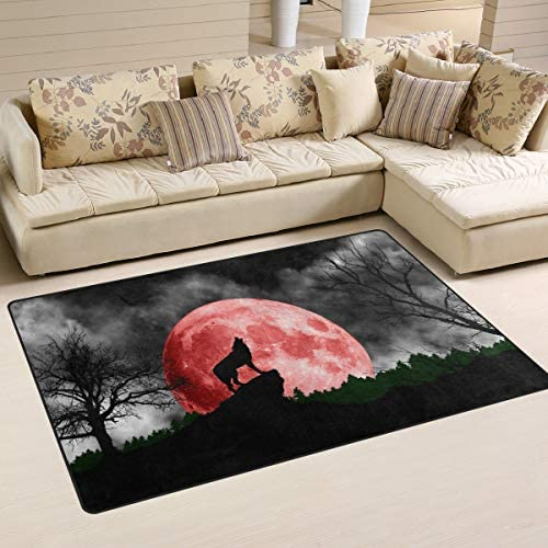 Linomo Area Rug Galaxy Wolf Moon Floor Rugs Doormat Living Room Home Decor