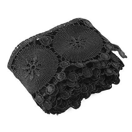 DealMux poliéster roupa saia Pants bordado DIY Artesanato Decor Lace Borda guarnição preta