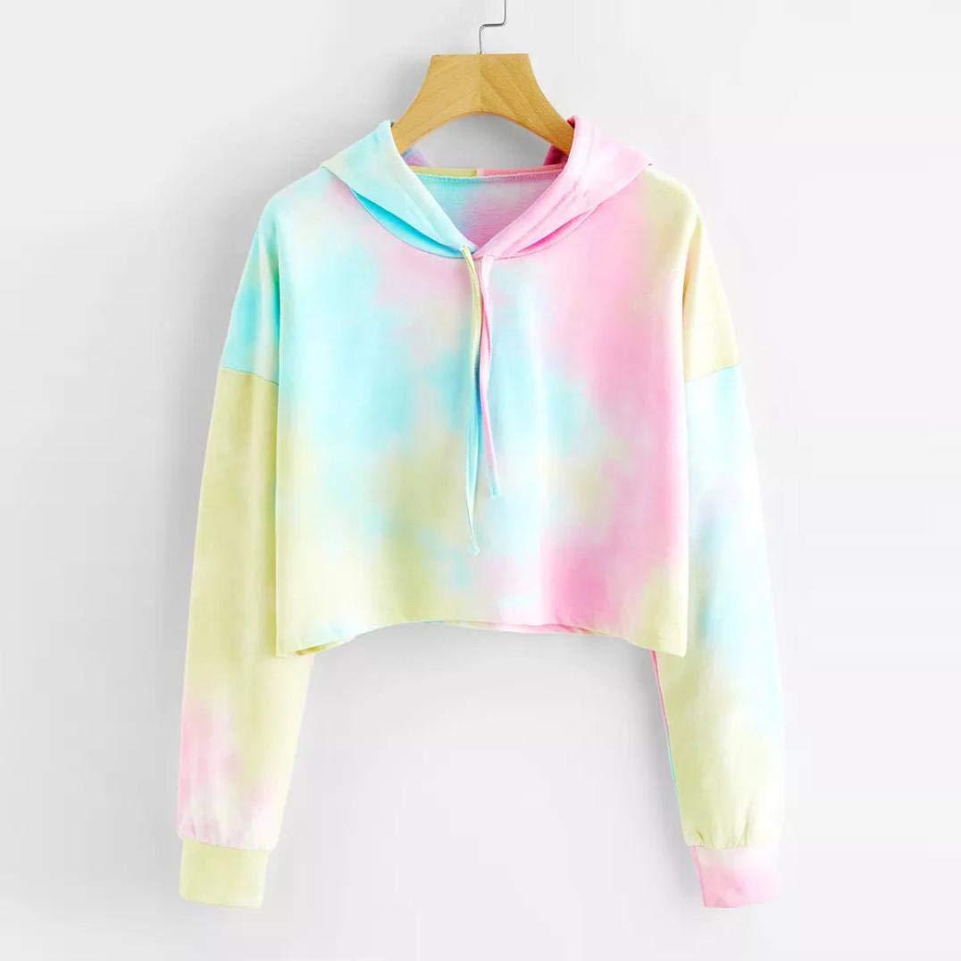 f8ebc863b0f Fanteecy Women's Tie Dye Print Hooded Sweatshirt Cute Crop Top Hoodies  Casual Pullover Tops at Amazon Women's Clothing store: