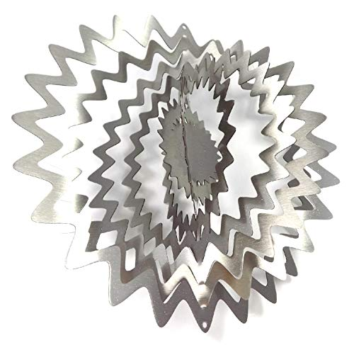 WorldaWhirl Whirligig 3D Wind Spinner Hand Painted Stainless Steel Twister Star Splash (12 Inch, Silver)