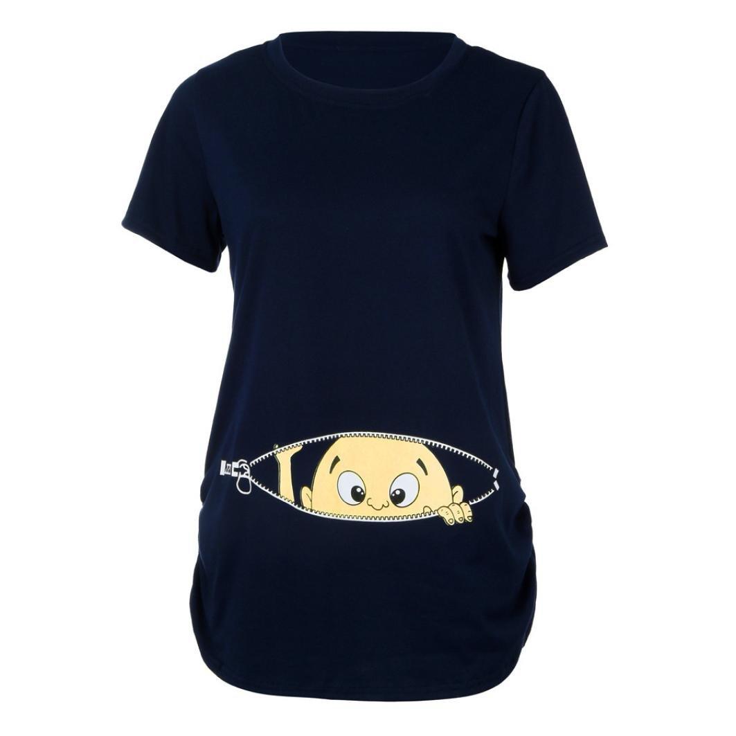 Cinnamou Blusa Embarazada Para Premamá,Camiseta de Maternidad de Manga Corta Top con Moda Algodón con Estampado de Linda Encantador