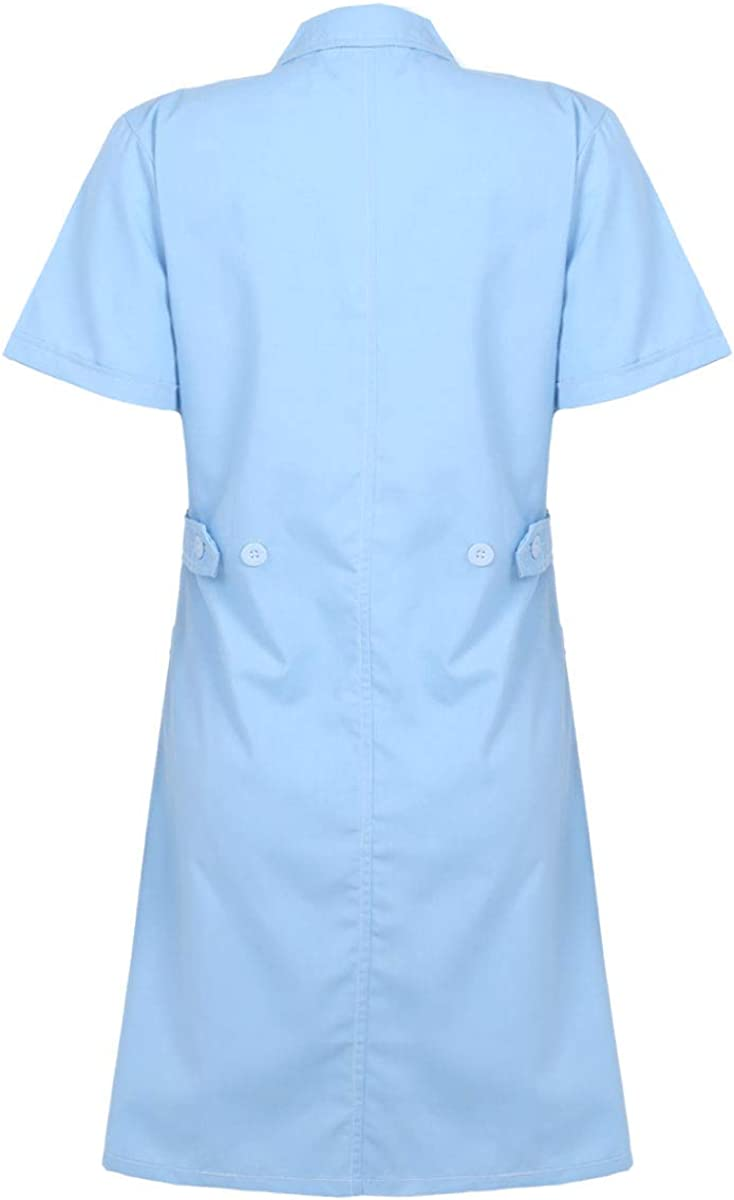 MSemis Womens Medical Nurse Dress Coat Halloween Cosplay Costume Short Sleeve Button Front Lapel Collar Uniform