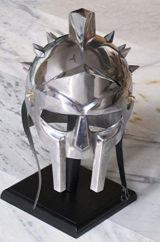 MAXIMUS GLADIATOR SPIKE HELM W/ FREE WOOD STAND MEDIEVAL ROMAN ARMOR (Gladiator Costume Maximus)