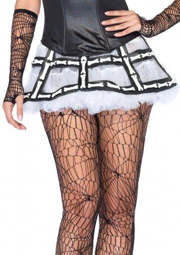 Leg Avenue Rubber Bone Cage Skirt Costume Accessory, Black/White, One Size