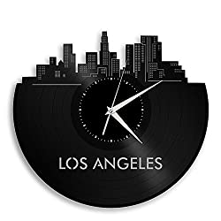 VinylShopUS Los Angeles California Vinyl Wall Clock City Skyline Vintage Room Decor