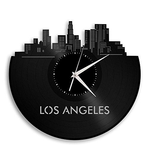 Cheap VinylShopUS Los Angeles California Vinyl Wall Clock City Skyline Vintage Room Decor