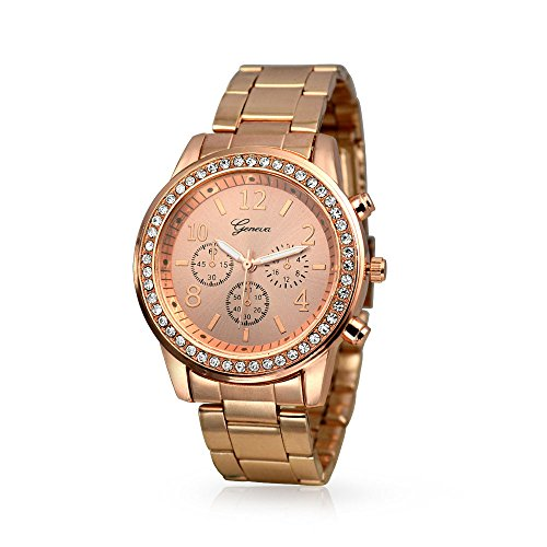 Bling Jewelry Plated Classic Round CZ Ladies Watch (Plated Watch Round)