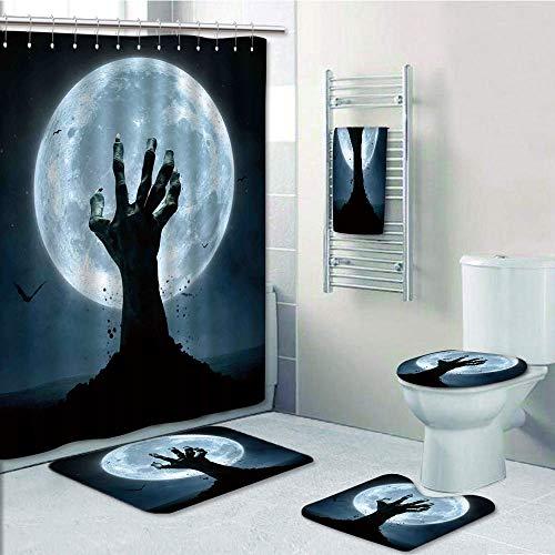 Bathroom 5 Piece Set shower curtain 3d print,Halloween Decorations,Zombie Earth Soil Full Moon Bat Horror Story October Twilight Themed,Blue Black,Bath Mat,Bathroom Carpet Rug,Non-Slip,Bath -