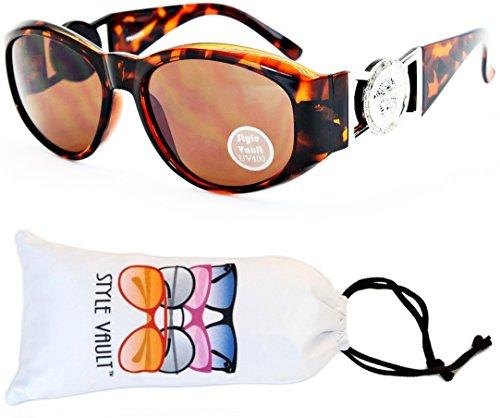 WM3009-VP Lion Logo Cateye Style Vault Sunglasses/Eyeglasses (E1719G Tortoise Brown/Silver-Brown)