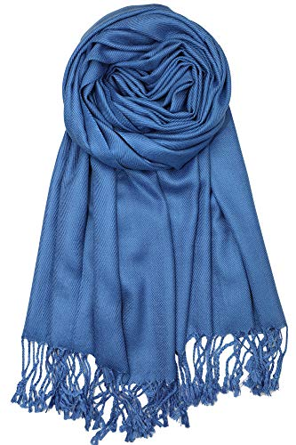 (Achillea Large Soft Silky Pashmina Shawl Wrap Scarf in Solid Colors (Denim Blue))