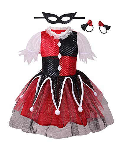 Cute Clown Halloween Costumes (Clown Costume for Girls, Halloween Dress (S,)