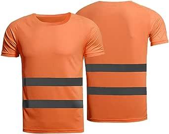 Camisa de Seguridad de Manga Corta de Alta Visibilidad de enfriamiento de Secado rápido Camiseta Reflectante de Trabajo para Hombres