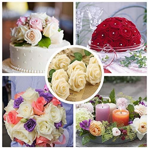 Fleurs Artificielles avec Perles, 20 Roses Artificielles pour Déco Maison Intérieur Extérieur, Fausse Fleur Plante Artificielle Décoration pour Mariage Fête Bureau Jardin Cadeau, Champagne