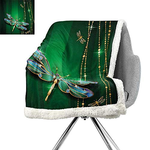 ScottDecor Dragonfly Flannel Bed Blankets,Vivid Figures in Gemstone Crystal Diamond Shapes Graphic Artsy Effects,Gold Hunter Green,Soft Premium Cotton Thermal Blanket W59xL78.7 ()