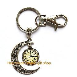 Modern Crescent Moon Keychain, Moon Keychain,Vintage Clock Keychain . Vintage Clock Art Jewelry,Clock Charm Keychain, Steampunk