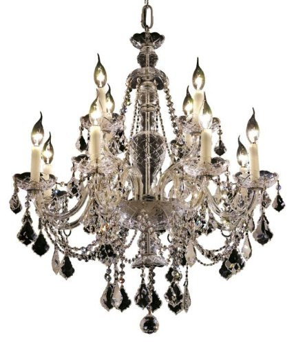 Elegant Lighting 7831D28C/RC Alexandria 8+4-Light Chandelier, Finish with Crystal (Clear) Royal Cut RC Crystal, 31