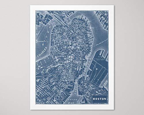 Boston Street Map Art Print, Vintage Style, Archival Quality, Blue, Unframed