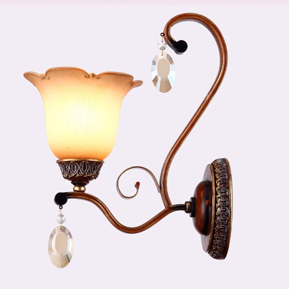 Wall lamp Europäische Einfache Schmiedeeisenglaswand-Lampenschlafzimmer-Im Freien Einfache Einzelne Hauptwandlampe