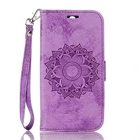 HTC M8 Case, Ngift [Purple] Premium PU [Mandala flowers] Flip Wallet Case Cover [Wrist Strap][Stand Feature] Leather Case for HTC One (M8 Cell Phone Case Wallet)
