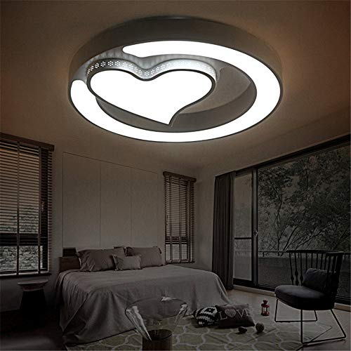ZGYQGOO Ceiling Lights lamp Circular Mahogany and LED Ceiling Light Main Bed for Children, an Adjustable Light Strip Remote Heart-Shaped Lights for Study Room, Bedroom, Living Room,600mm