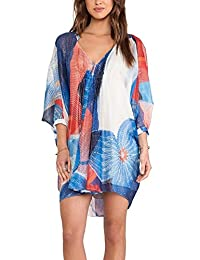 Wander Ago Beach Cover Up Matching Color Long Sleeve Chiffon Bikini Covers Printing