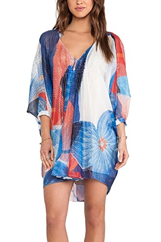 Wander Ago Beach Cover Up Matching Color Long Sleeve Chiffon Bikini Covers Printing