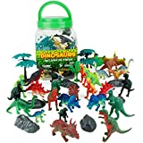 Boley 40Piece Big Bucket Toys-Tub of Educational Dinosaur Toy Playse Toys Toy Playset with T-Rex, Velociraptor & More-Small