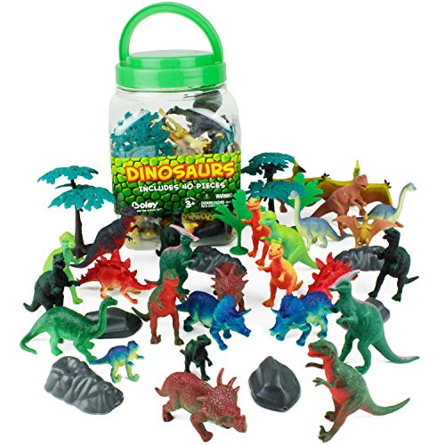 (Boley 40Piece Big Bucket Toys-Tub of Educational Dinosaur Toy Playset with T-Rex, Velociraptor & More-Small, Multicolor)